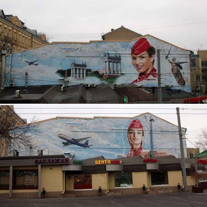 Красавицы-стюардессы украсили фасады нескольких зданий в Москве. ФОТО