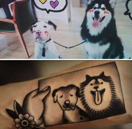 Мультяшные татуировки домашних животных от тату-мастера Jiran (30 фото)