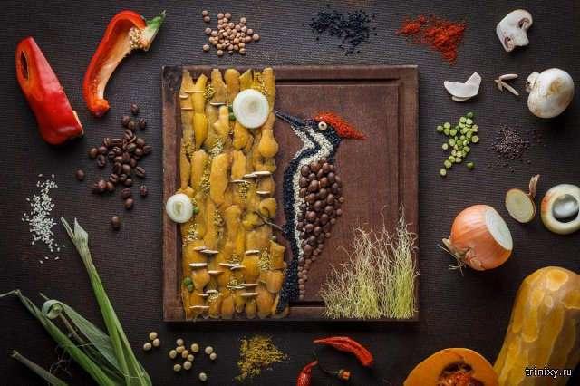 Потрясающие картины, сделанные из обычной еды (13 фото)