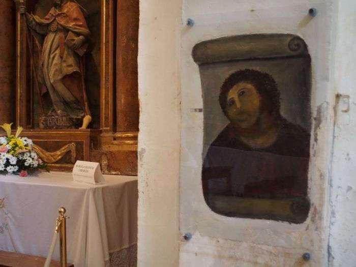 Испорченную фреску Ecce Homo -Пушистый Иисус- не стали восстанавливать (4 фото)