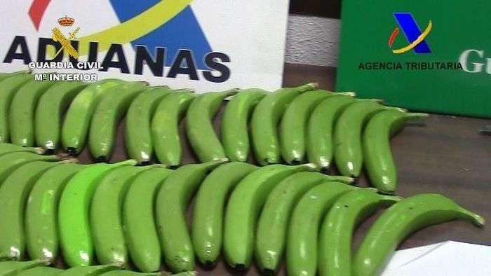 Испанская полиция обнаружила партию кокаина, спрятанную в поддельных бананах (6 фото)