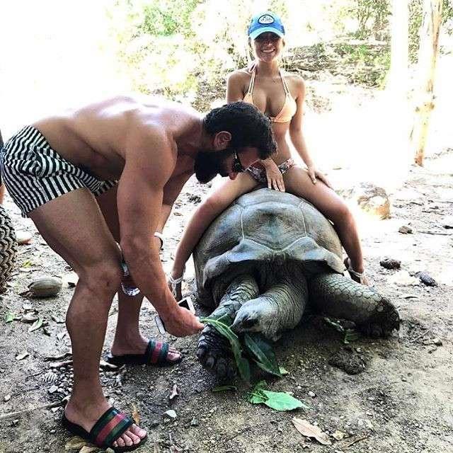 -Король -Инстаграма- ради лайков посадил девушку в бикини на 100-летнюю черепаху