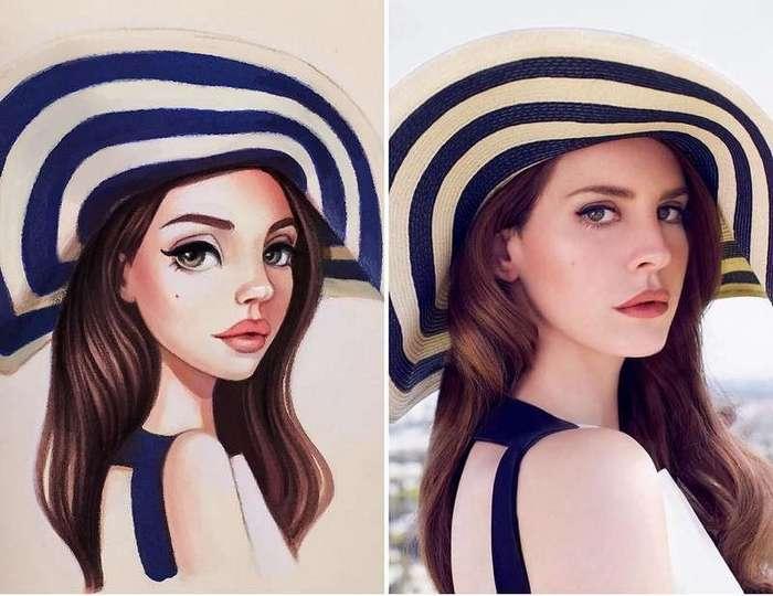 Российская художница рисует шикарные портреты-шаржи звезд