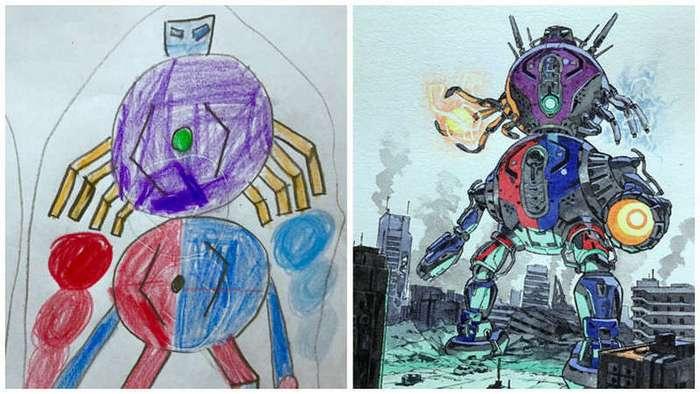Отец превращает рисунки своих сыновей в персонажей аниме – и это потрясающе!