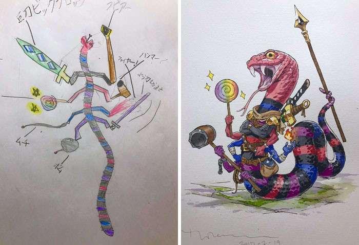 Отец превращает рисунки своих сыновей в персонажей аниме - и это потрясающе!