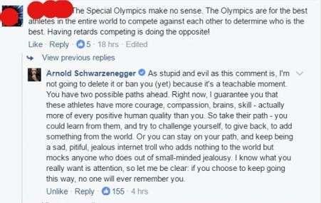 Железный Арни отчитал хамоватого комментатора в соцсетях