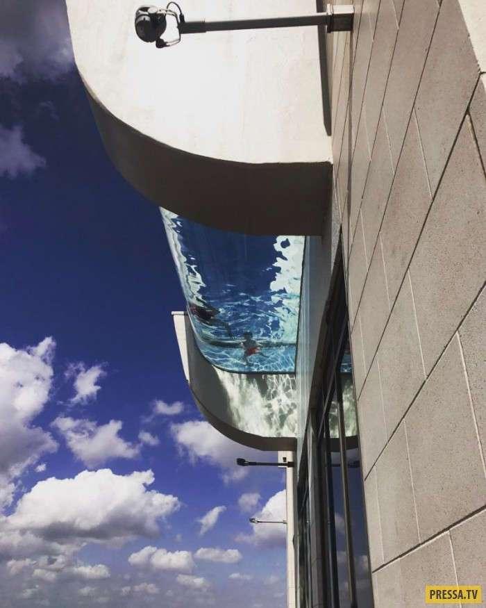 Экстремальный бассейн с прозрачным дном на высоте 150 метров от земли (5 фото + видео)