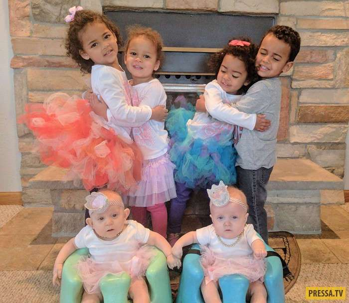 Три пары близнецов в одной семье и все родились 28 февраля (5 фото + видео)