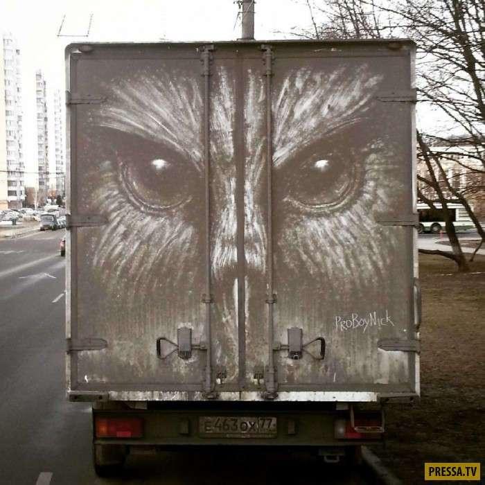 Владельцы грязных автомобилей обнаруживают на них изумительные рисунки (9 фото)