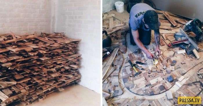 Как из кусочков древесины и обломков керамической плитки сотворить шедевр на полу (15 фото)