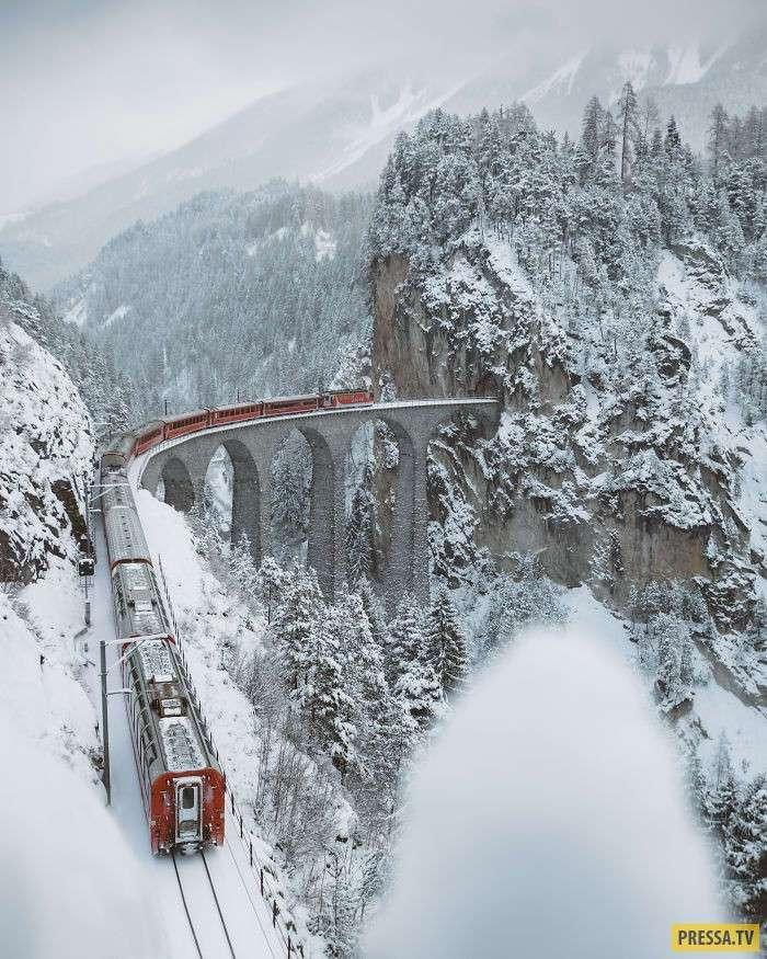 Виадук Ландвассер - живописный железнодорожный мост в Швейцарии (7 фото)