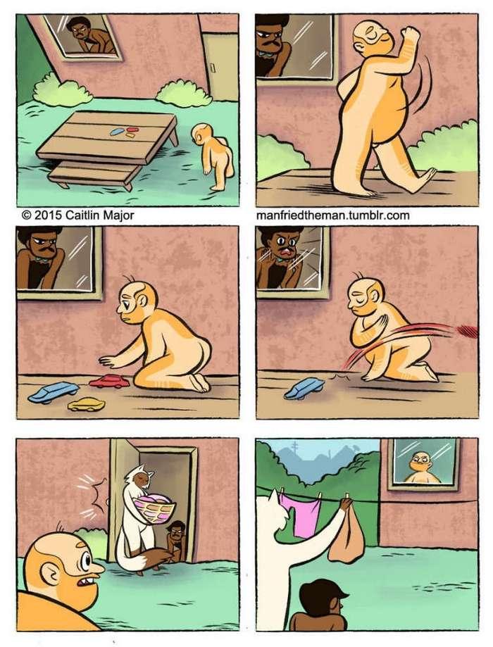 Cмешных комиксов о том, что было бы, если бы люди и кошки поменялись местами