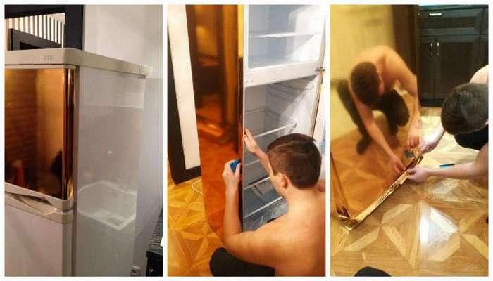 """Старый холодильник """"не вписывался"""" в дизайн кухни. Вот что сделал этот хозяин…"""