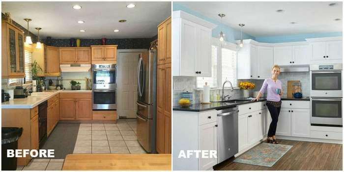 before and after photos of painted kitchen cabinets уютная и функциональная кухня в несколько шагов 9888