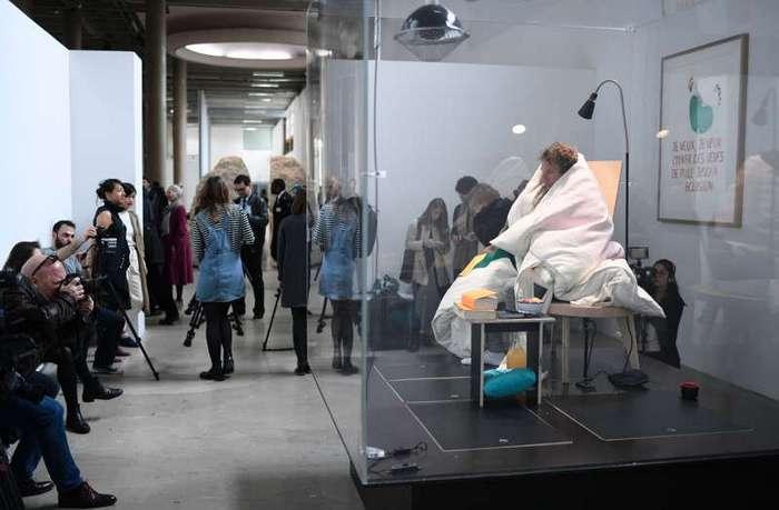 В музее Парижа художник-акционист высиживает цыплят