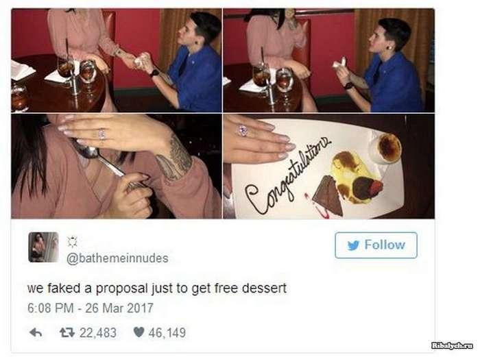 Друзья устроили розыгрыш ради десерта в ресторане (5 фото)