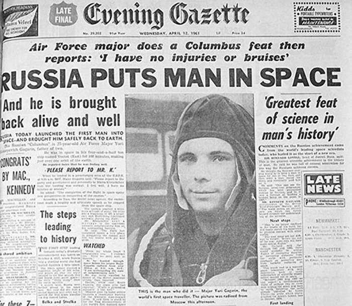 Что писали СМИ на Западе о полёте Юрия Гагарина (12 фото)