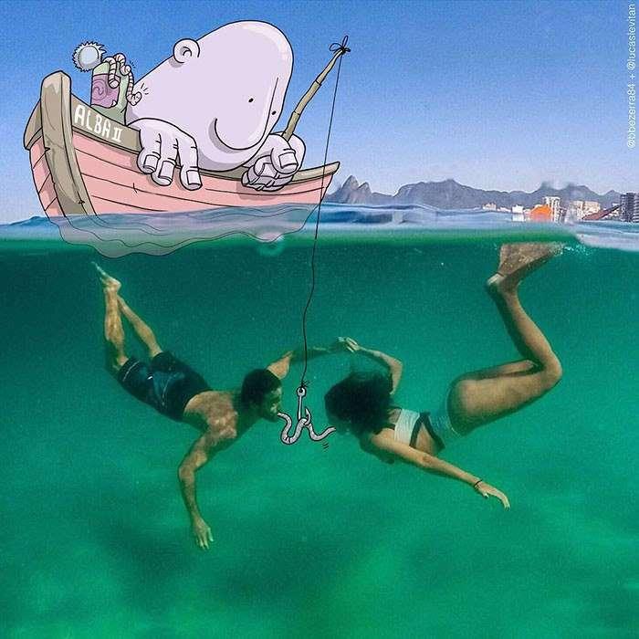 Бразильский художник круто издевается над случайными фото в Инстаграм.
