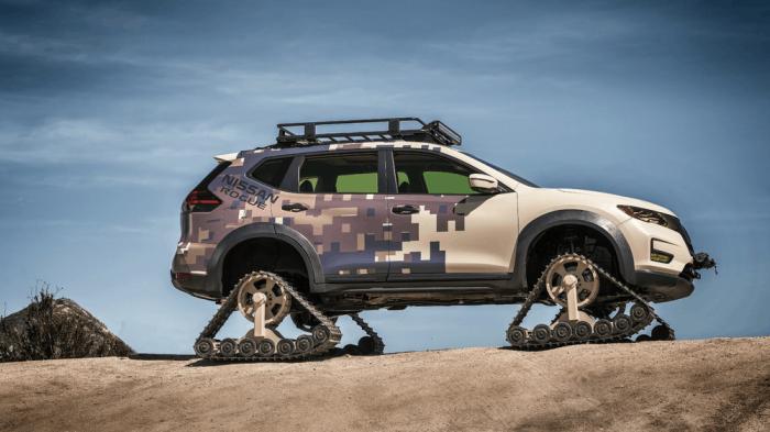 Суперпроходимый внедорожник Nissan на гусеничном ходу для снега, пустыни и безорожья
