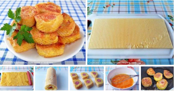 Не классика Жанра: Сосиски с картофельным пюре в вафлях