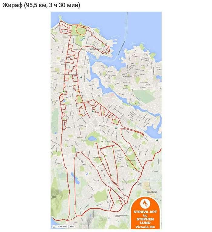 Художник рисует самые большие иллюстрации в мире, катаясь по городу на велосипеде с GPS.