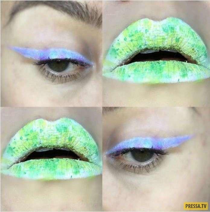 Необычный макияж губ - новый тренд этого лета (14 фото)