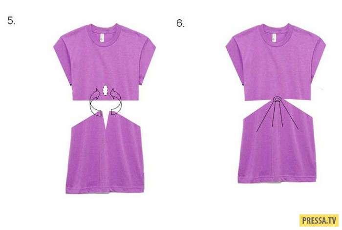 Модное платье из ненужной длинной футболки за 5 минут (7 фото)