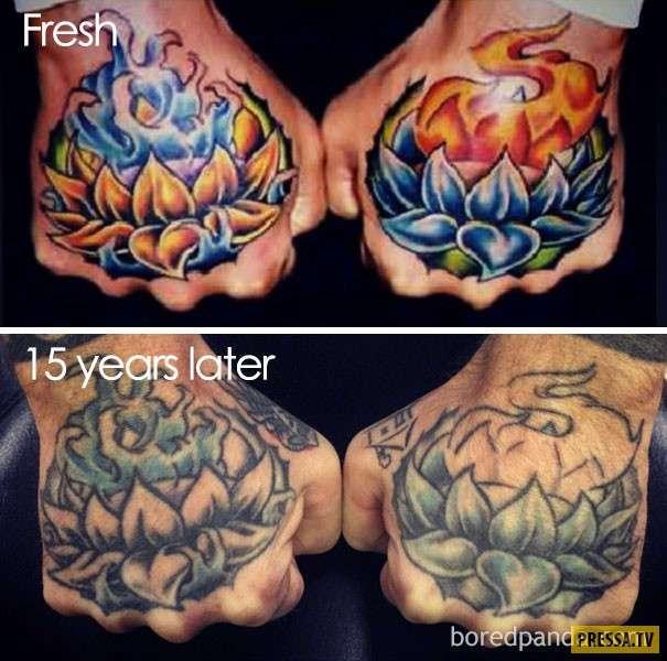 Как стареют и выцветают татуировки (31 фото)