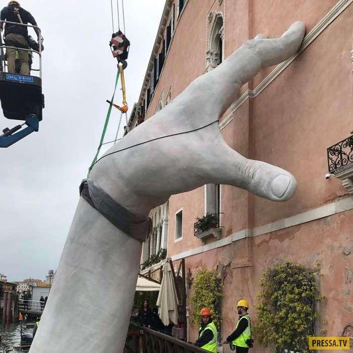"""""""Гигантские руки"""" в Венеции как напоминание о глобальном потеплении (9 фото)"""
