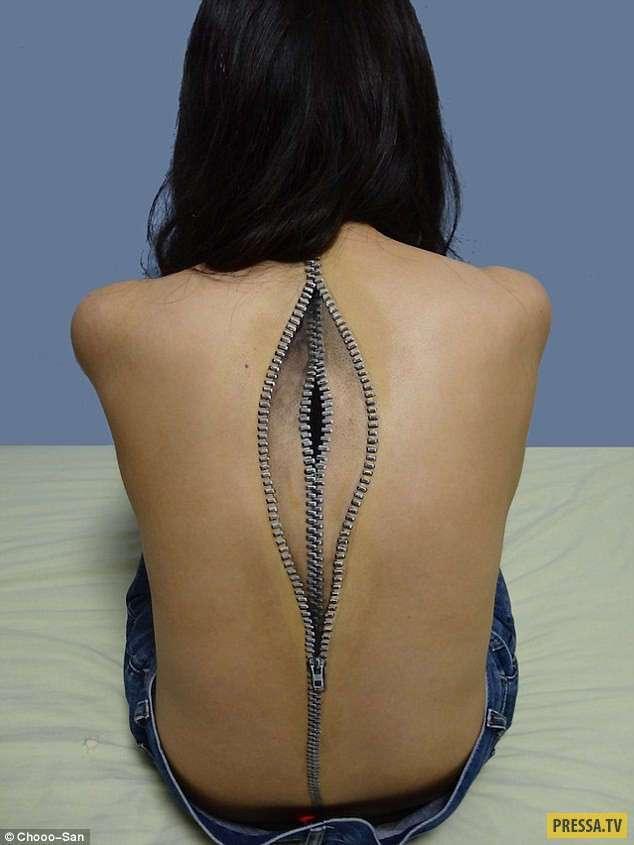 Сюрреалистические и немного ошеломляющие рисунки на теле (10 фото)