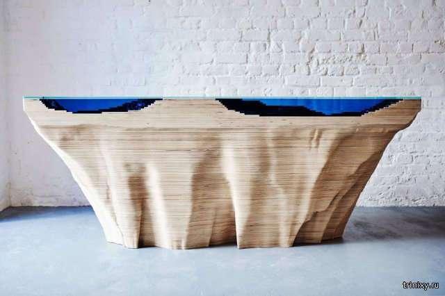 Многослойные дизайнерские столы с морской топографией (11 фото)
