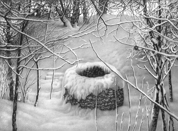Классные зимние пейзажи, нарисованные ручкой (22 фото)