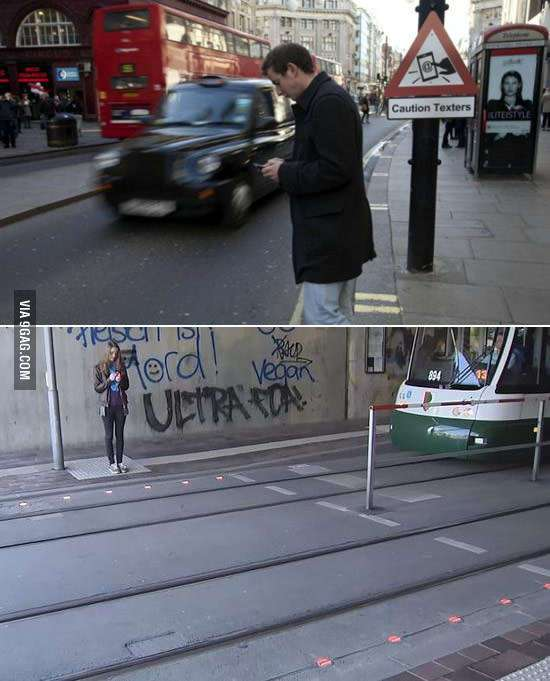 Вот как в Германии решили проблему пешеходов, которые не отрываются от смартфонов