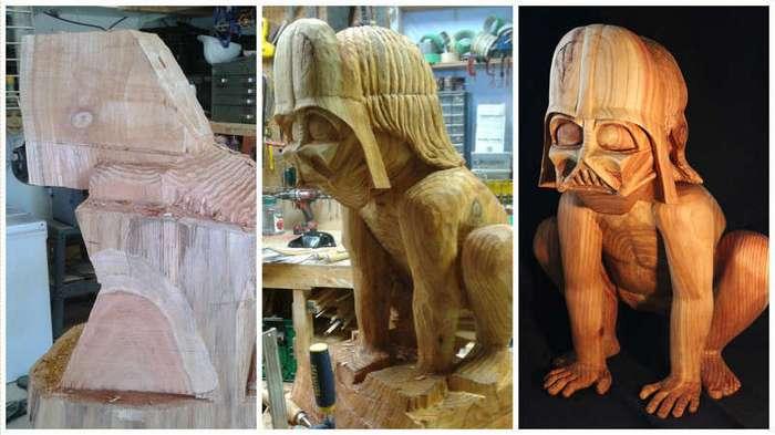 """Деревянная скульптура """"Дарт Вейдер – дошколёнок"""" (12 фото)"""