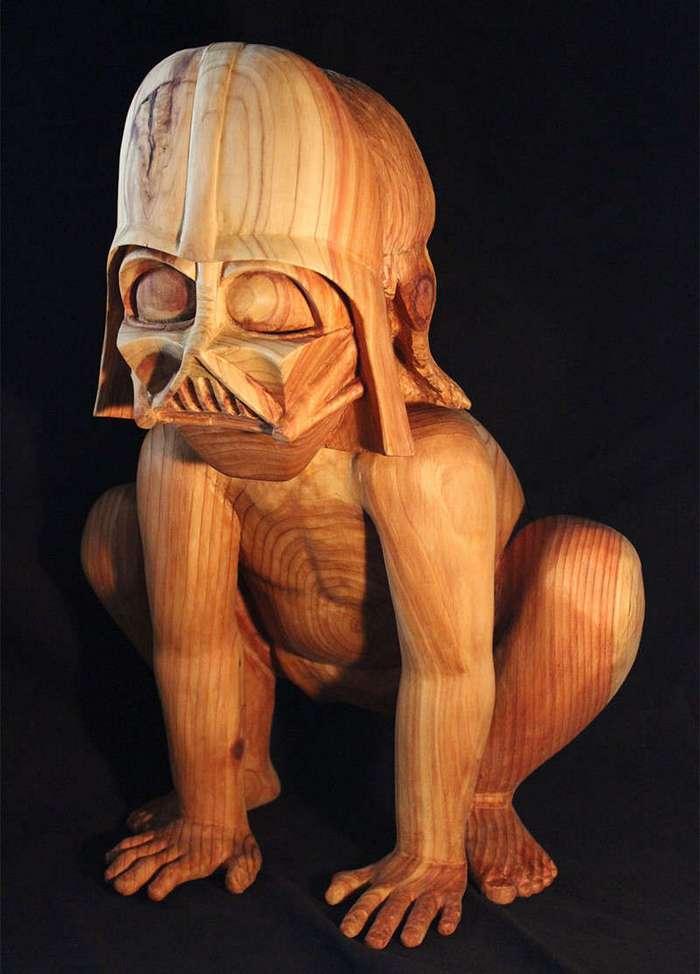 Деревянная скульптура -Дарт Вейдер - дошколёнок- (12 фото)