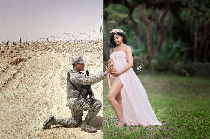 Трогательный снимок беременной и ее мужа-военного (7 фото)