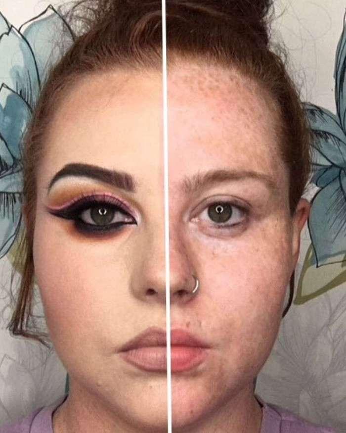 Проект -Половинка лица-: мужской кошмар и женское пособие по красоте (25 фото)