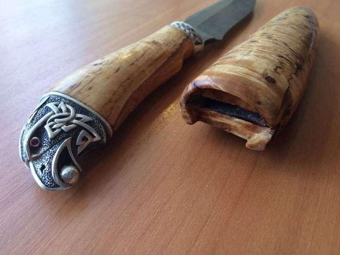Нож своими руками (дамасская сталь, карельская береза, серебро) (11 фото)