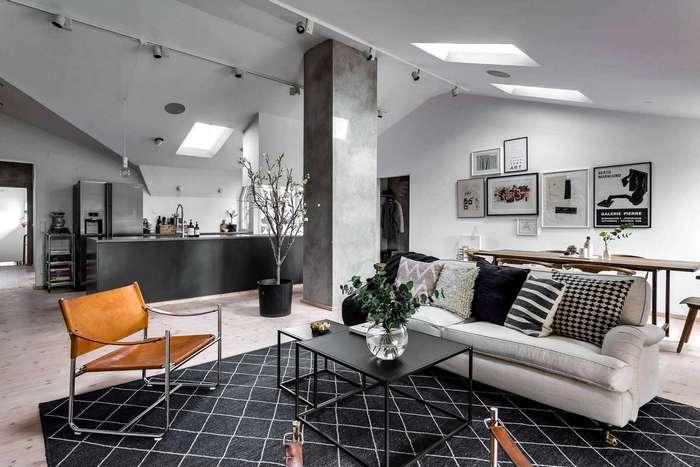 Интерьер стокгольмской двухуровневой квартиры