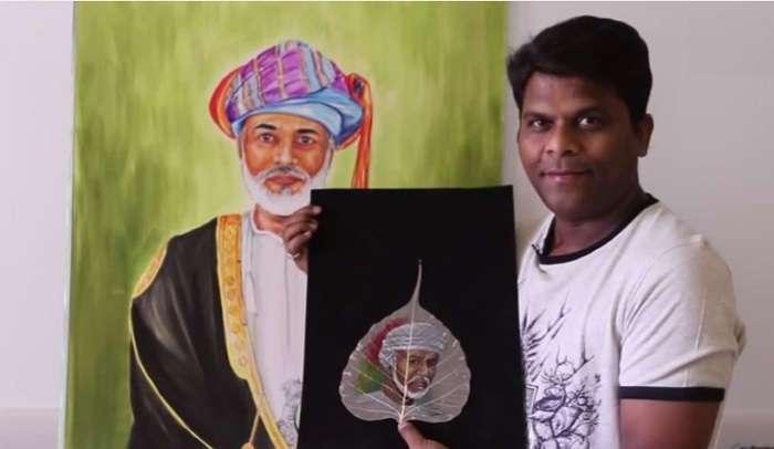 Мини-шедевры на листьях от индийского художника