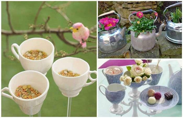 16 красивых и полезных вещей из старой посуды, которые пригодятся дома и на даче