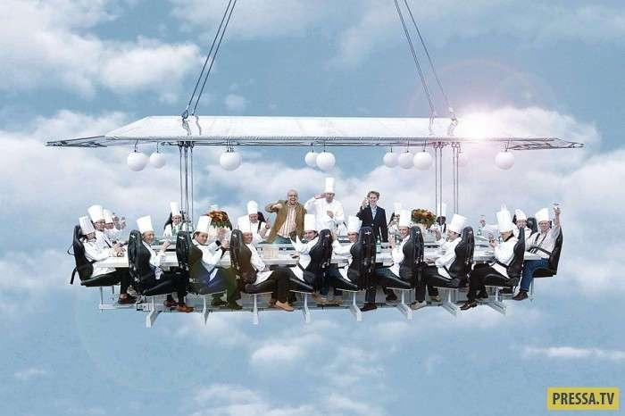 Висячий ресторан-платформа -ужин в небесах- (16 фото)