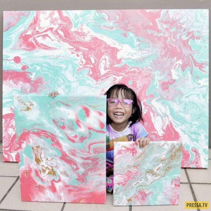 Маленькая художница пожертвовала часть своих доходов на благотворительность (14 фото)