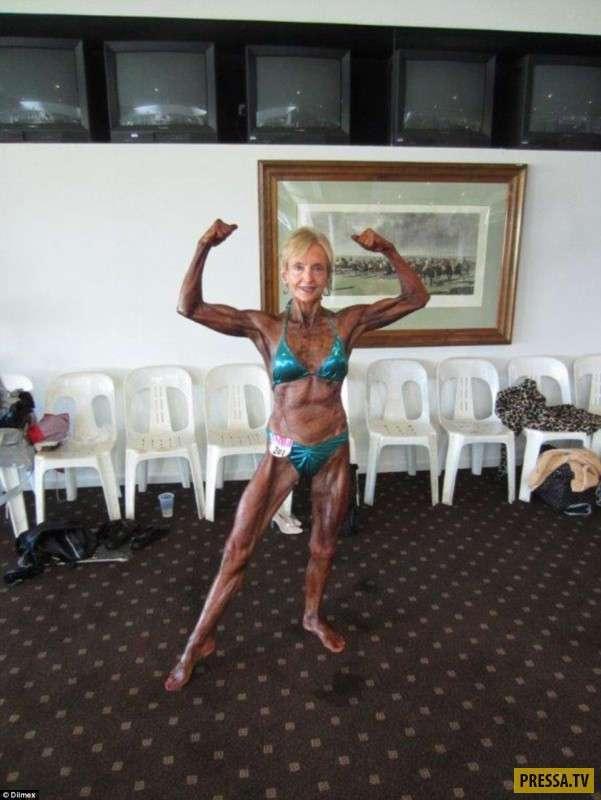 74-летняя женщина-бодибилдер (4 фото + видео)