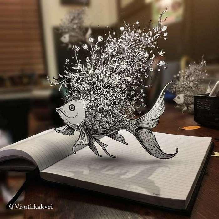 Художник из Камбоджи своими эскизами вывел такой вид творчества на новый уровень (15 фото)