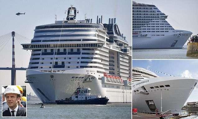 Грандиозный запуск крупнейшего в Европе круизного лайнера (11 фото)