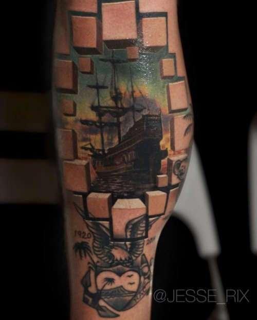 Невероятные татуировки с оптическими иллюзиями от Джесси Рикса (14 фото)