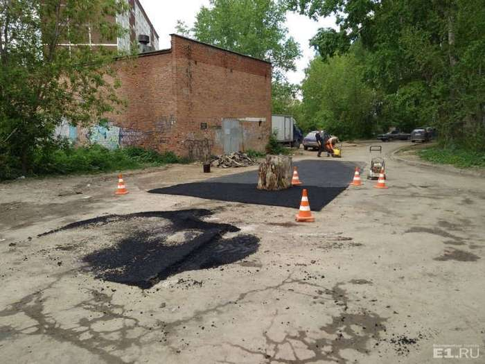 В Екатеринбурге заасфальтировали старый пень посреди дороги (3 фото)