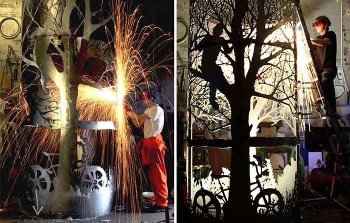Потрясающие скульптуры из металлолома, сливающиеся с природой (15 фото)