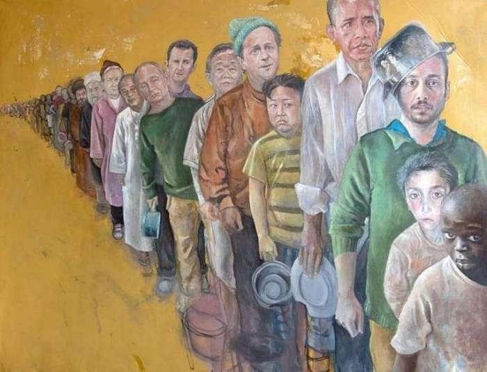 Сирийский художник дал мировым лидерам ощутить, что значит быть беженцем (15 фото)